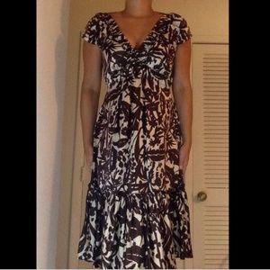 BCBG Max Azria Silk Midi Dress Size 4 Tie Back